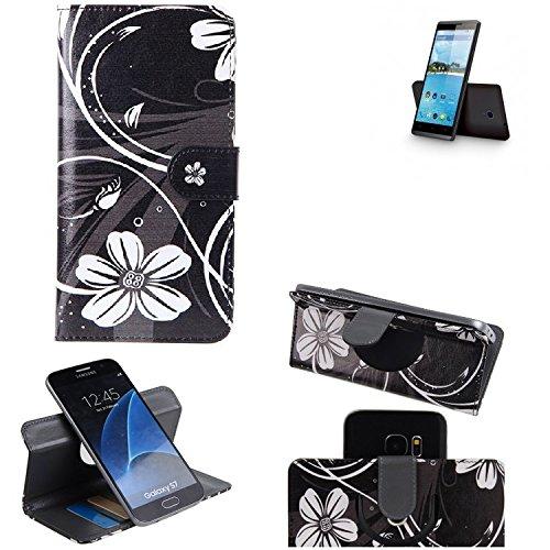 K-S-Trade Schutzhülle für Hisense Sero 5 Hülle 360° Wallet Case Schutz Hülle ''Flowers'' Smartphone Flip Cover Flipstyle Tasche Handyhülle schwarz-weiß 1x
