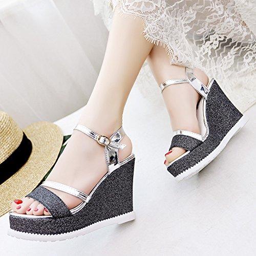 Lgk & fa sandali da donna estate la pendenza estate con fondo di spessore sandali studenti sono all-match paillettes scarpe Black