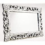 Monica Big Size Wall Hand Carved Mirror Frame In Silver Foil Finish