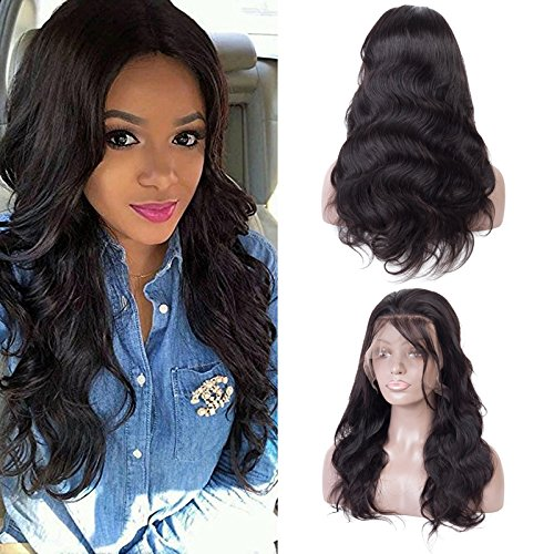 Body Wave Brazilian Perücke Virgin Remy Hair 360 Lace Front Perücken Full Lace Perücken pre-plucked Haaransatz Free Teil Natural schwarz mit Baby Hair Natural schwarz 35,6 cm