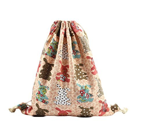 Imagen de laat  bolsa de tela con cordones, diseño estampado, ideal como bolsa de viaje o  para adolescentes y estudiantes