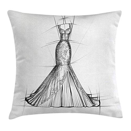 Fashion Throw Pillow Cushion Cover, Trendy Classic Woman Night Dress Stylish Model Bridal Wedding Outfit Sketch Print, Decorative Square Accent Pillow Case, 18 X 18 inches, Grey White
