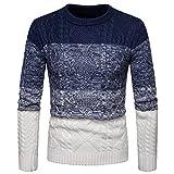 Xmiral Herren Pullover Gestrickte Top Farbverlauf Gestreiften O-Ausschnitt Pullover (M,Weiß)