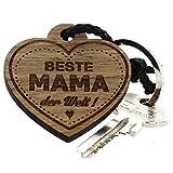 Lieblingsmensch aus Holz - Beste Mama Schlüsselanhänger, 12 cm, Braun