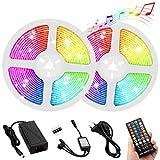 Unihoh LED Streifen Licht RGB LED Strip 10m Selbstklebend 300 LEDs SMD5050 Wasserdicht Musik Sync Farbwechsel 40 Tasten Fernbedienung Dekoration Zuhause TV Party Feiern