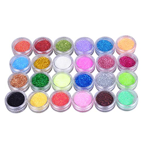 Biutee 24 Stück Nagel Glitzer, Make-Up Glitzer für Gesicht Nägel Haare Körper, Glitzer Staub Glitter, Nagel Art Dekoration für Musik Festival, Masquerade Party,Party(24 Farbe)
