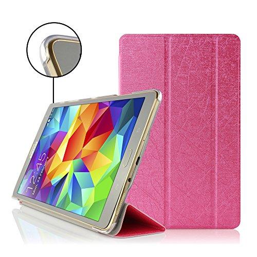Urcover® Smart Case kompatibel mit Samsung Galaxy Tab S 8.4 Hülle Sleeve Tasche [ Sleep/Wake und Stand-Funktion ] Flip Cover Schutzhülle Portfolio Pink