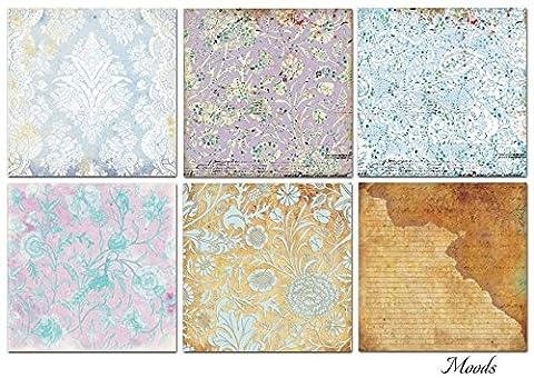Paper Moon -6 feuilles papier de Qualité scrapbooking 30.5cm x 30.5cm - Humeurs