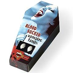 Idea Regalo - FXSTUFF Denti da vampiro + capsule di sangue finto + pasta modellabile/termoplastica (riutilizzabile) – tenuta perfetta tramite adattamento individuale