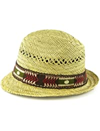 STRAW TRILBY WITH AZTEC NAVAJO STYLE BAND FESTIVAL SUN BEACH HAT