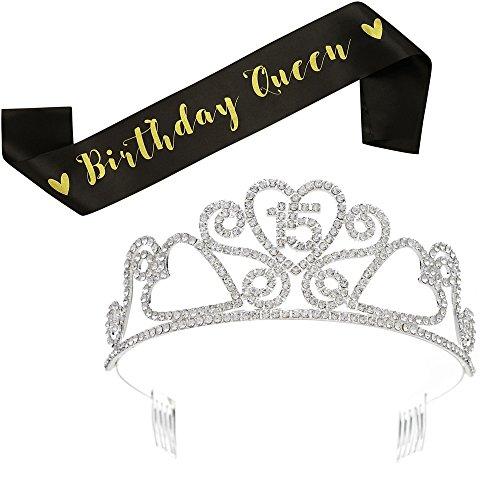 SWEETV Geburtstag Diadem Stirnband Strass Prinzessin Krone Quinceanera 15. Geburtstagsfeier Haarschmuck mit Schärpe (Kronen Für 15)