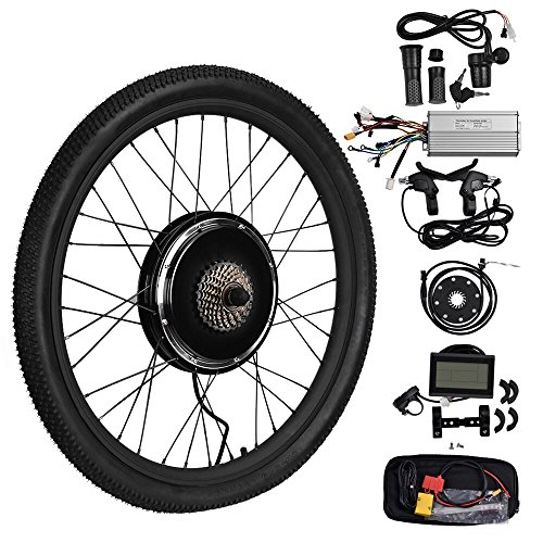"TOPQSC 26"" Rear Wheel Hub Motor Electric Bike DIY Conversion Kits With LCD3 Display TOPQSC (48V 1500W)"