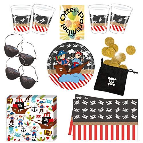HHO Pirate's Trip Piratenausflug Partyset 71tlg. für 16 Piraten Teller Becher Servietten Tischdecke Augenklappen Münzbeutel (Piraten-münzbeutel)
