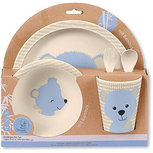 Sterntaler Bambus Kinder Geschirr-Set Baylee, 5-teilig, Süßes Bär-Motiv, Blau Kinder Teller Set