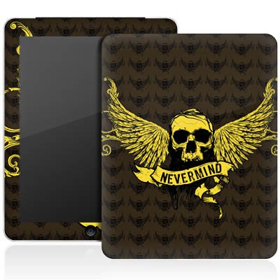 Apple iPad 1 Aufkleber Schutz Folie Design Sticker Skin Gold Skull Nevermind