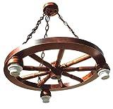 Lampe mit einem Wagenrad, Hängeleuchte aus Holz 60W, braun