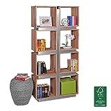 WOHNLING Bücherregal Massivholz Akazie 180 x 85 x 30 cm | Design Raumteiler mit stilvoller Metallverkleidung | hohes Regal aus Holz im Landhaus-Stil | Regalsystem Natur-Produkt für Wohnzimmer