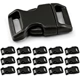 Ganzoo klick-Verschluss aus Kunststoff im 15er Set, 5/8' / Klippverschluss/Steckschließer/Steckverschluss für Paracord-Armbänder, Hunde-Halsbänder, Rucksack, Farbe: schwarz