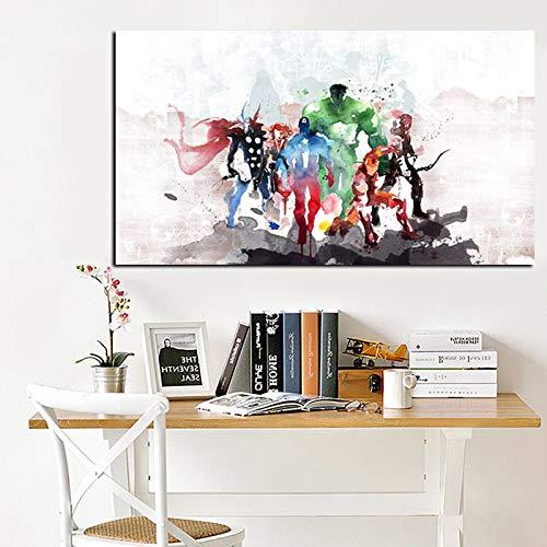 RTCKF Aquarell Moderne Superhelden Leinwand Malerei minimalistischen nordischen Wind Boy Schlafzimmer Home Decor (kein Rahmen) A6 60x120cm -
