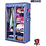 Arsh Portable And Collapsible Wardrobe Metal Frame 6 Racks Closet, Aw06, Blue With High Capacity Up To 70Kgs