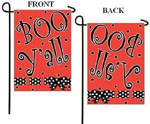 Happy Halloween Boo Y alle Punkte Garden Flagge 12 x 18