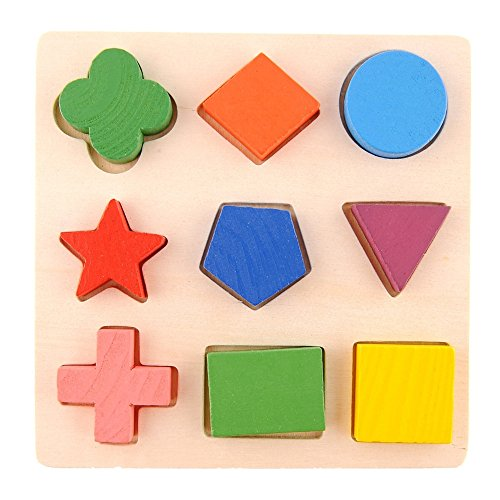 Gosear Kids Baby Children Geometry Shape Wooden Stacking Building Block Toy Early Learning Educational Brain Training Intellectual Play Jigsaw Puzzle