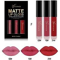 Rechoo Beauty Sexy 3 Pcs Labiales Mate Larga Duracion Maquillaje Impermeable Pintalabios Matte Liquid Lipstick Set (Group F)
