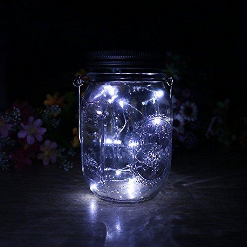 VCHENG 3 Stück Solar Gläser Deckel Licht, LED-Licht Mason Jar Deckel Insert LED String Fairy Lichter für Standard Einmachglas Gläser (Weiß) - 3
