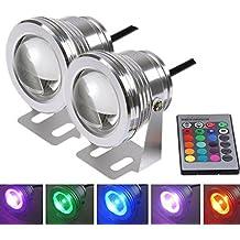 PolarLander 2pcs 7 Colores 10W 12V RGB LED Fuente Luz Subacuática 1000LM Piscina Piscina Estanque Acuario