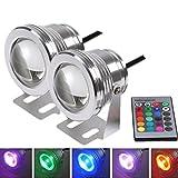 PolarLander 2pcs 7 Farben 10W 12V RGB LED Unterwasserbrunnen-Licht 1000LM Swimmingpool-Teich-Fisch-Behälter-Aquarium LED helle Lampe IP67 imprägniern
