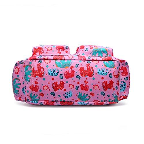 Miss Lulu, 4-teiliges Wickeltaschenset, mattes Wachstuch, geblümt und gepunktet oder andere Motive (schottischer Terrier, Schmetterlinge, Katzen, Elefanten), beige - Cat Beige - Größe: L 1501E Rosa