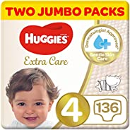 Huggies Extra Care, Size 4, Two Jumbo Packs, 136 Diapers