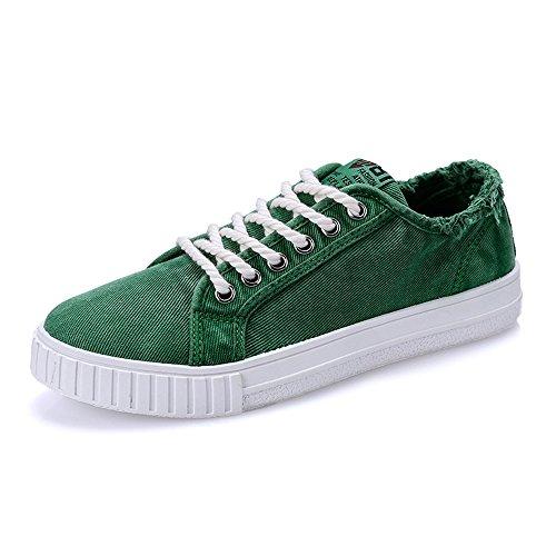 Shengjuanfeng Jungen Canvas Sneakers beiläufige Flache Sportschuhe Unisex Liebhaber Stil Lace Up Canvas Denim Low Top Sneakers (Color : Grün, Größe : 9.5 MUS) Cricket-stil