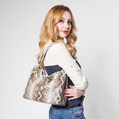 Realer Snake Leder Hobos Large Capacity Handtaschen Crossbody Taschen für Frauen Braun