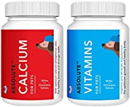 Drools Absolute Calcium Tablet- Dog Supplement, 50 Pieces & Drools Absolute Vitamin Tablet- Dog Supplement