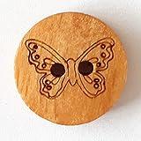 Kinderknopf Holz Schmetterling mit 2 Löchern - Größe: 18mm - Farbe: braun - Art.Nr. 261290