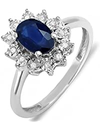 Kate Middleton Diana Inspired 10 ct White Gold Real Round Diamond Real Oval Blue Genuine Sapphire Ring