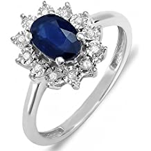 Anello Donna Kate Middleton Diana InspiRosso 10 ct Oro Bianco Real Rotonda Diamante Real Ovale Blu Genuine Zaffiro Ring