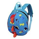 Trada Kindergartentasche, Baby Jungen Mädchen Kinder Dinosaurier Muster Tiere Rucksack Kleinkind Schultasche/Wickelrucksack mit Sicherheitsleinen für Babys/Rucksäcke für Kleine Kinder (Blau)