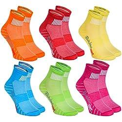 6 pares de Calcetines Modernos, Originales y Deportivos en 6 Colores de moda. Se fabrican en la UE! Tamaños 39 40 41 Ideal para que el pie Respire! La Calidad Superior! Oeko-Tex!