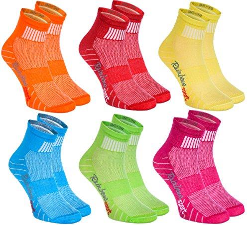 Rainbow Socks - Damen Herren Bunte Baumwolle Sport Socken - 6 Paar - Orange Rot Gelb Grün Meer Grün - Größen EU 36-38