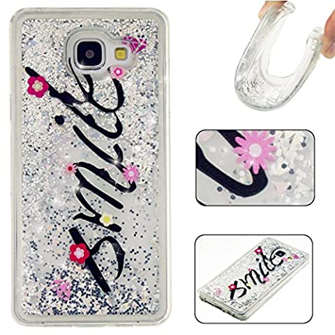Samsung Galaxy A3 (2016) A310F inch Glitter Case, MUTOUREN Creative Design Flowing Liquid Floating Flowing Bling Shiny Sparkle Glitter Crystal Clear Plastic soft Case Protective Shell Case Cover For Samsung Galaxy A3 (2016) A310F - smile