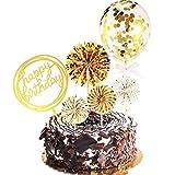 Topper de Gâteau Joyeux Anniversaire Ensemble Éventail en Papier Confettis Ballon Topper Acrylique de Petit Gâteau pour la Décoration de Gâteau d'Anniversaire