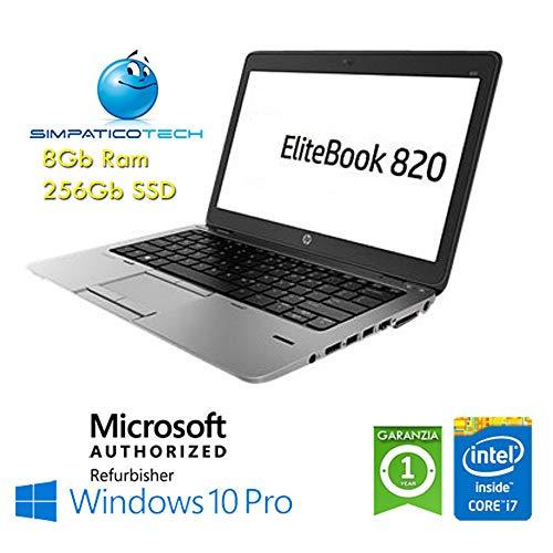 "Notebook HP EliteBook 820 G1 Core i7-4600U 8Gb 256Gb SSD 12.5"" HD AG LED Windows 10 Professional Licenza Simpaticotech MAR Microsoft Authorized Refurbisher (Ricondizionato)(SENZA Docking Station)"