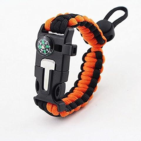 Yancorp 5-in-1-Überlebens-Armband, 2,5Meter Fallschirmleine, Kompass, Feuerstarter, Schaber, Pfeife,für Wandern/Camping/Notfall , Orange / Schwarz