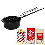 Popcorn Maker Grillpopcorn - Topf Grillpfanne für Popcorn mit 10 Tüten, 150 g Vanillezucker, 500 g Butterfly Mais