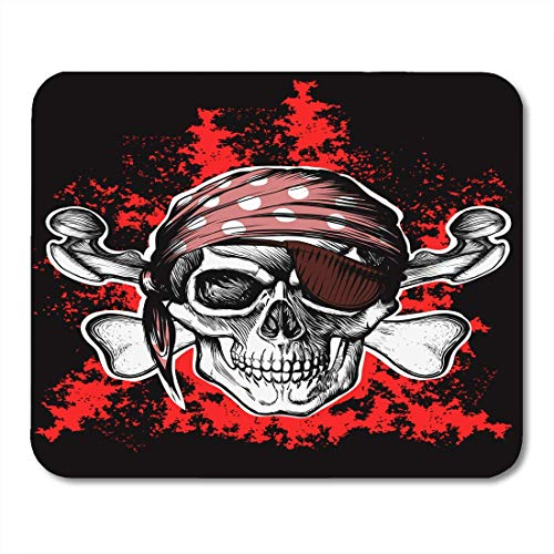 Deglogse Gaming-Mauspad-Matte, Battle Crossbones Jolly Roger Pirate Symbol with Crossed Daggers on The Black and Red Skull Bones Mouse Pad