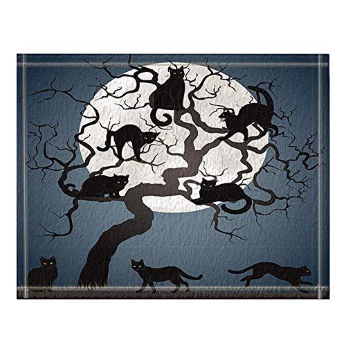 GzHQ Schwarze Katzen auf Baum in der Nacht mit Vollmond für Halloween-Badteppiche rutschfeste Fußbodeneingänge Outdoor Indoor Haustürmatte 16 x 24 Zoll Badematte