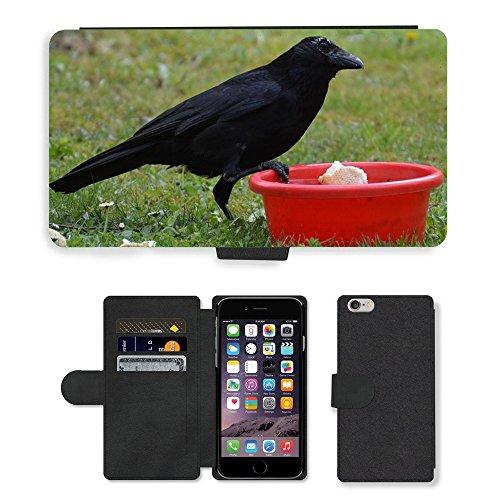 Just Mobile pour Hot Style Téléphone portable étui portefeuille en cuir PU avec fente pour carte//m00138619Corbeau Raven Raven Oiseaux Noir Bill//Apple iPhone 6Plus 14cm