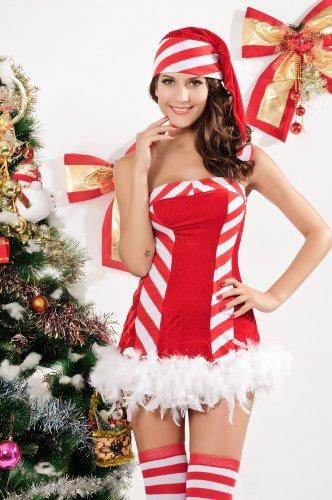 ZLMDS Sexy Miss Sweetie Santa Rentier Spiele Weihnachten Kostüm (Sweetie Kostüme Santa)